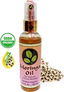 Moringa Energy Oil 3.4oz. - Travel size, USDA Organic, 100% Pure Moringa Seed Oil from Cold Pressed Extraction. Use to Rejuvenate and heal dry Skin & Hair with Pure Food Grade Moringa Oil
