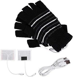 USB接続で加熱 あったか手袋 作業 PC 冬 防寒対策 男女兼用 USBヒーター内蔵 快速加熱 手袋 指先 温かい (ブラック)