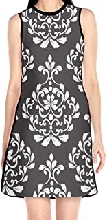 Women's Sleeveless Dress Damask Pattern Fashion Casual Party Slim A-Line Dress Midi Tank Dresses