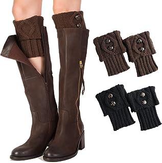 Calentadores Piernas Mujer Calcetines de Punto Invierno Tejidos Cálidos Calientapiernas Cortas Ganchillo Cubierta para Botas y Botines