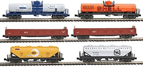 N Mixed Freight Train Set - 6 Car Assortment