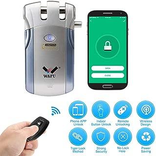 OWSOOリモートロック 4*リモコン リモコンドアロック WiFiスマート電子ロック盗難防止セキュリティドアロック亜鉛合金金属スマートドアロック APPでリモコンコントローラー ブルー+シルバー