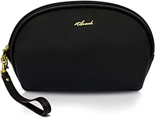 Arvok Travel Makeup Bag, Water-resistant Half Moon Cosmetic Pouch toiletry bag Organizer handbag Multifunction Case wallet Multifunction Train Case Pencil Case Handy Toiletry Clutch/Purse, Black