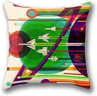 Lfff NASA Space Saturn Shuttle Retro Poster Futuristic Explorer Funda de Almohada Funda de Almohada de Tiro estándar