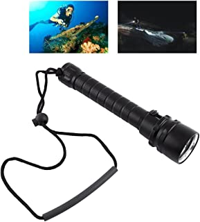 水中トーチ ダイビング スキューバ ライト 懐中電灯 LED 8000Lm 100m水中防水 3*T6 軽量 高輝度 ロープ付き アルミニウム合金 ブラック