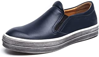 Classic Oxford for Men Daily Casual Slip on Loafer Genuine Leather Elastic Bands Moccasin Boat Shoes` Tussy (Color : Blue, Size : 43 EU)