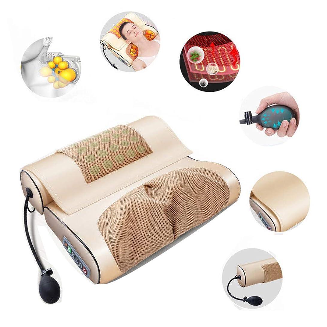 シリーズ大気とティーム16マッサージヘッド温水背中の痛みの救済のためのセラピー多機能混練マッサージ枕家庭で使用し、車でネックマッサージャー、