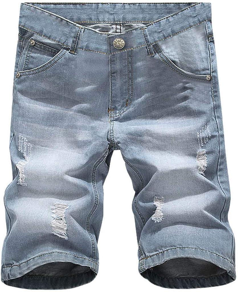MODOQO Men's Casual Denim Cargo Short Multi Pockets Outdoors Sports Fitness Comfortable Trouser