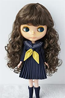 JD311 9-10inch 23-25cm Long wave Air bangs Doll wigs Blythe SD synthetic mohair BJD hair (Medium Brown)