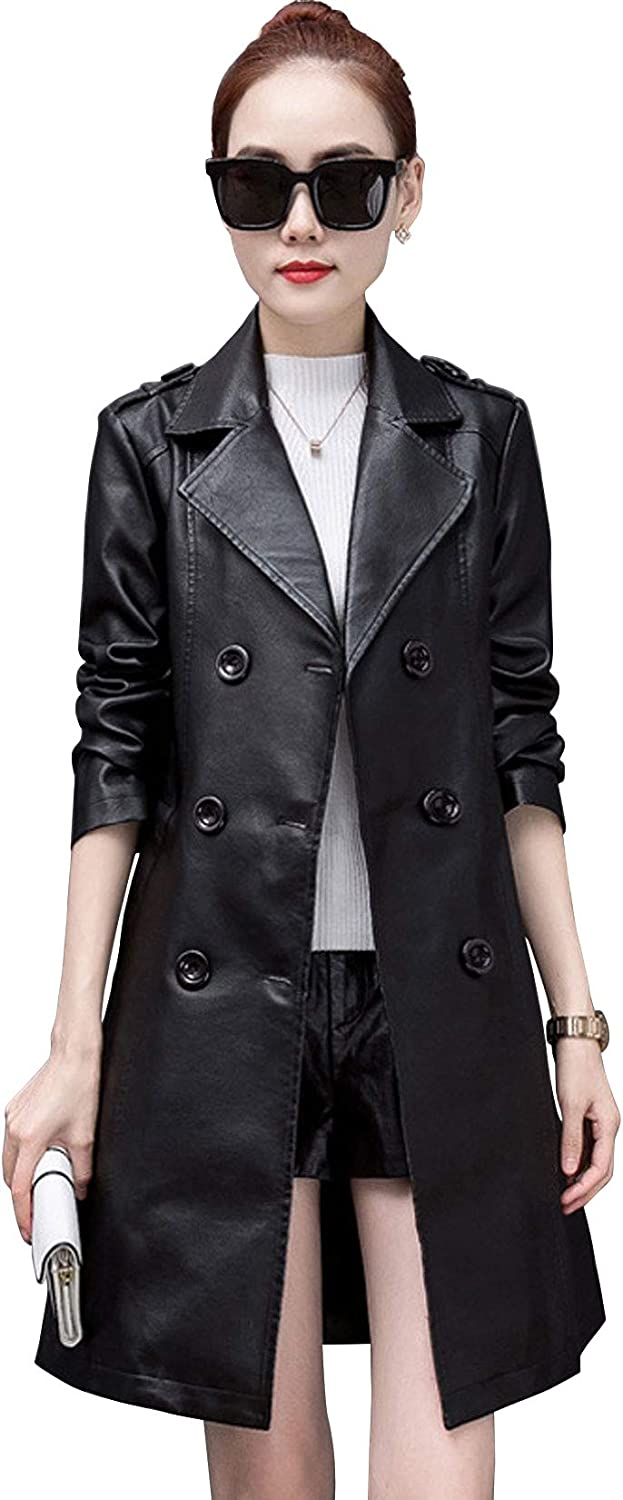 ebossy Women's Slim Double Breasted Lapel Faux Leather Trench Coat with Belt