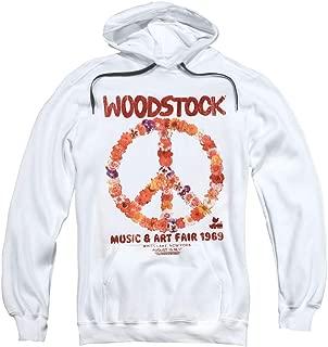 Woodstock Peace Symbol Cream Pull-Over Hoodie Sweatshirt & Stickers