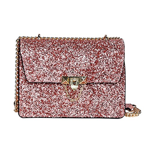 Mioy Elegante bolso mensajero Bolso bandolera de Mujer Bolso De Hombro Moda Pequeño Bolsos de cuero Con Lentejuelas (Rosa)