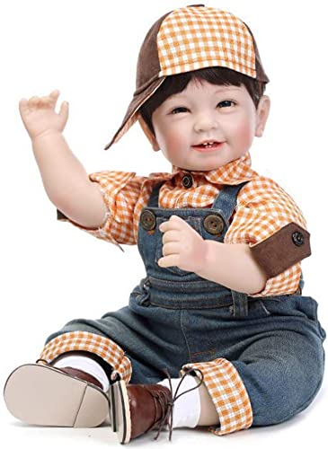 FHSGG Reborn Babypuppen 55cm Vier Z e Sch  Real Life Weiße Silikon Vinyl Lebensechte Spielzeug Neugeborenen Geschenk Realistische Puppen