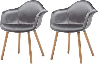 Meubletmoi Lote de 2 sillas Negras reposabrazos - sillones ...