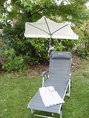 Parasol – Le XXL Outdoor – Kit Riz – Gulianova – Holly Fächerschirm – Naturel + Aluminium – Haute sensibilité – Titanium – Stable