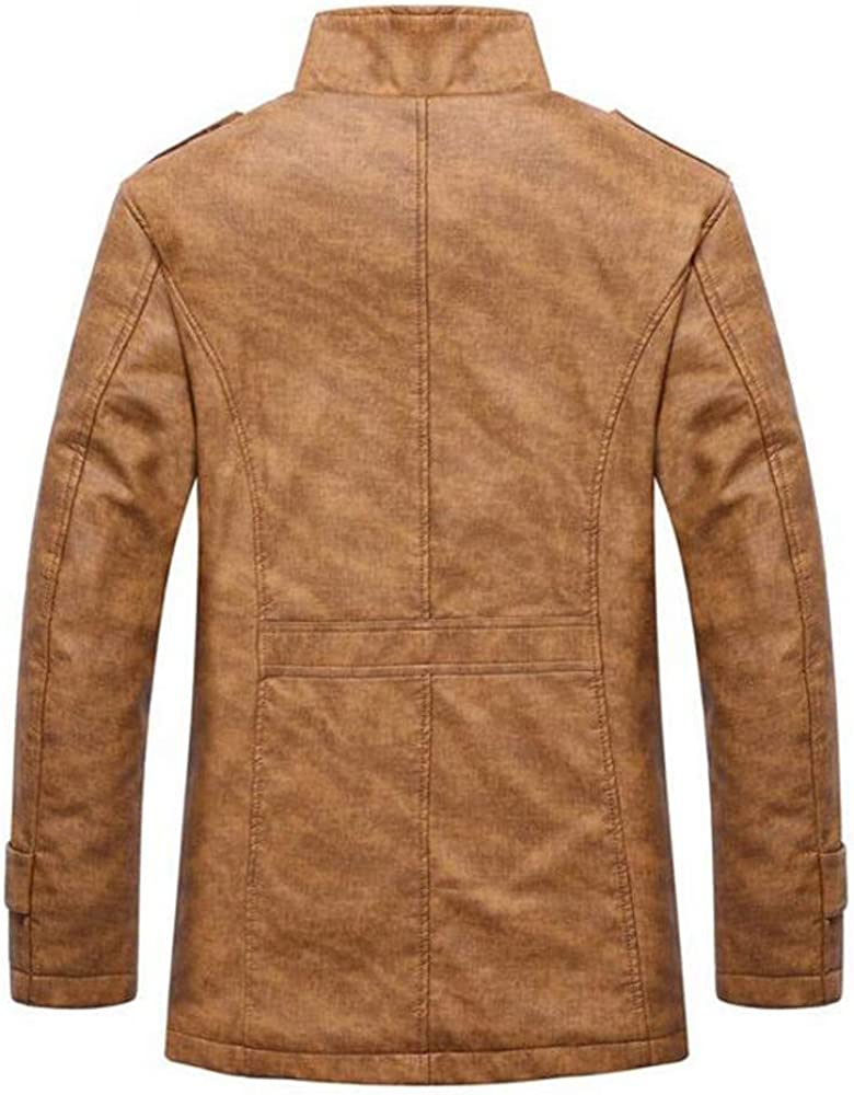 kemilove Men's Casual Sherpa Fleece Lined Jacket Warm Coat with Fur Collar Button Winter Quilted Coat