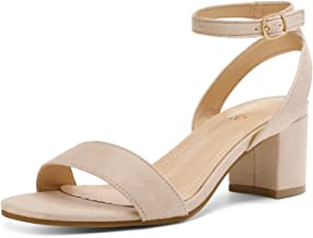 DREAM PAIRS Women's Open Toe Ankle Strap Low Block Chunky Heels Sandals Party Dress Pumps Shoes