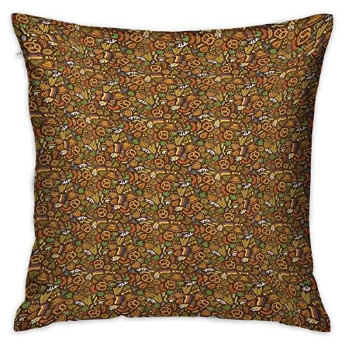 Funda de almohada de estilo de dibujos animados con diseño cuadrado alemán de Alemania con lúpulos de bandera y pretzels Fundas de cojín multicolor con dibujo a mano Fundas de almohada para so