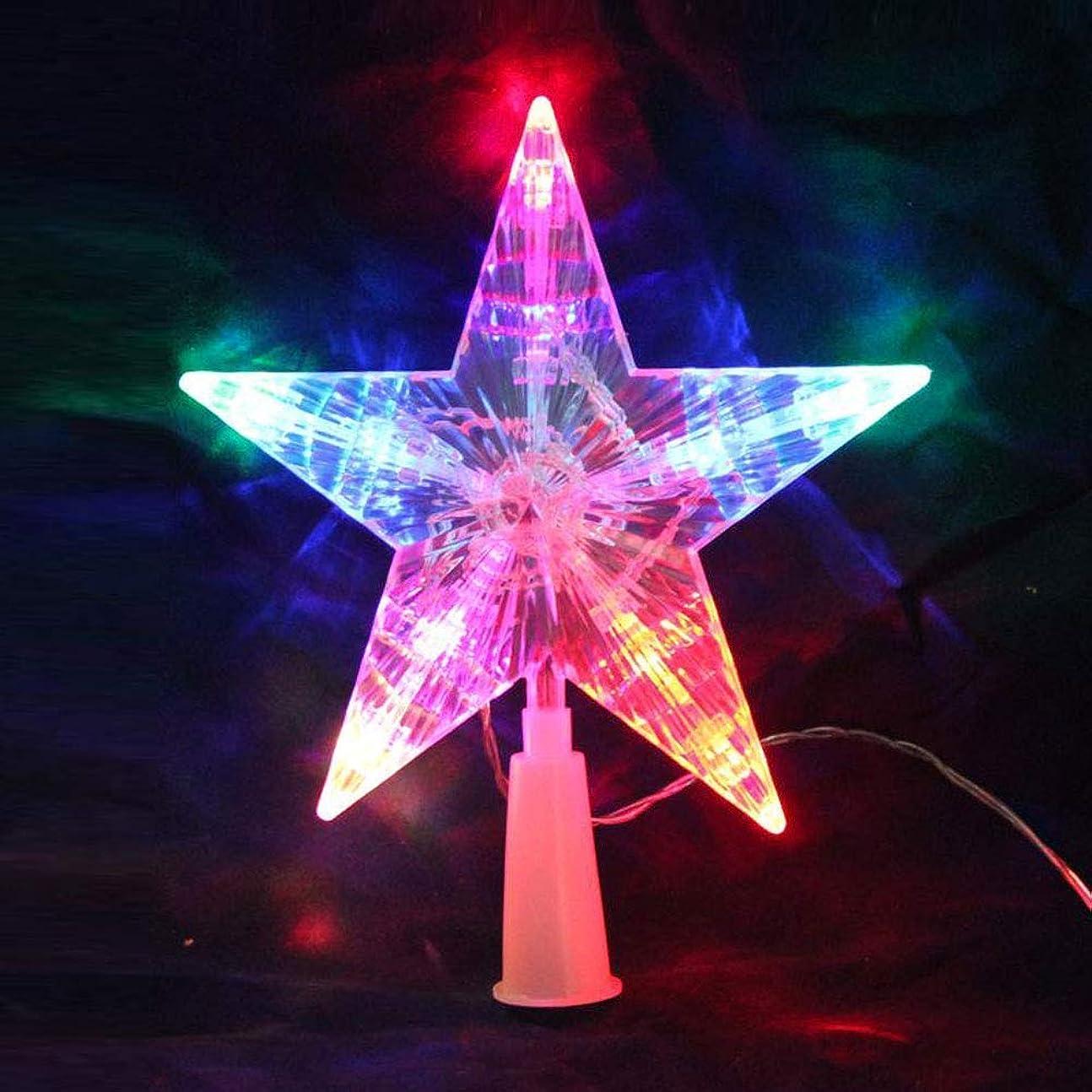 遅い最後に転倒Lindexs クリスマスツリー トップスター トップライト LED 電池式 クリスマスツリー 星の飾り オーナメント イルミネーション 自動点滅 流れカラー (クリア)
