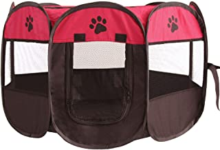 MAXLEAF八角形 ペットケージ メッシュサークル 折り畳み式 防水 ペットテント 通気性 犬/猫用 (赤)