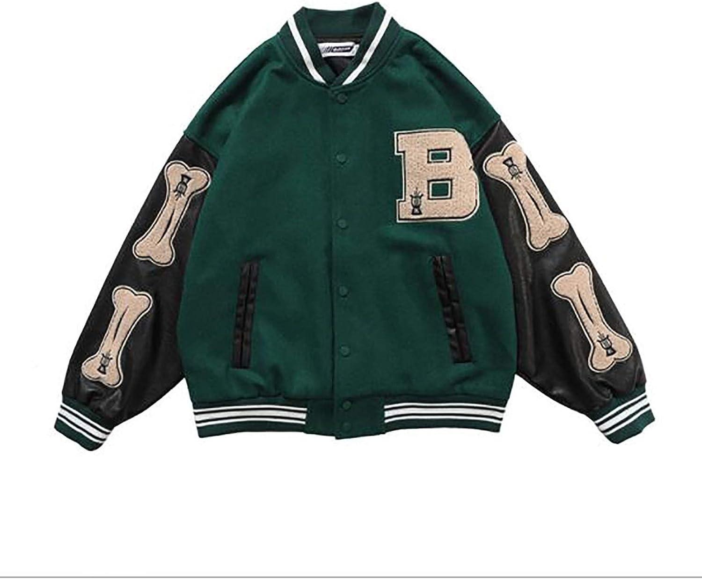 GYYlucky Hip Hop Jackets, Furry Bone Color Block Streetwear Patchwork Pattern, Men's Baseball Coats, Flight Bomber Jacket (Color : Green, Size : Large)