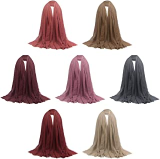 7 Pieces Women Wrinkle Scarf Crinkle Muslim Hijab Scarves Long Wrap Scarf