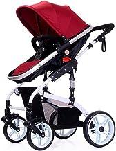 Silla de paseo alta en paisaje: carrito plegable y reclinable, silla de paseo de dos vías a prueba de golpes, dosel ajustable y desmontable y parasol plegable, freno doble de un pie