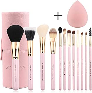 ZOREYA Makeup Brush Set,12Pcs Pink Gold Premium Synthetic Makeup Brushes for Large Powder Foundation Brush Eye Makeup Brushes Kit with Great Makeup Sponge,Professional Easy Travel Vegan Leather Holder