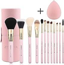 Zoreya Makeup Brush Set 12pcs Pink Synthetic Makeup Brushes Travel Set With Holder Makeup Brush Organizer Foundation Powder Contour Blush Eye Cosmetic Brush Sets In Case With Bonus Gift Makeup Sponge