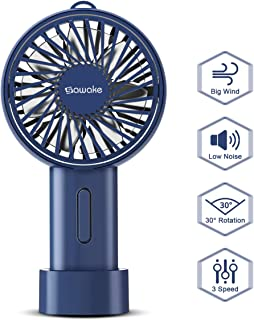 SAWAKE Ventiladores USB Silencioso,Mini Ventilador de Mano Portátil con 3 Velocidades Ajustables, Ventilador USB Potente de Bolsillo Recargable, Giratorio de 15 Grados Fan Dormitorio, Oficina, Viajes