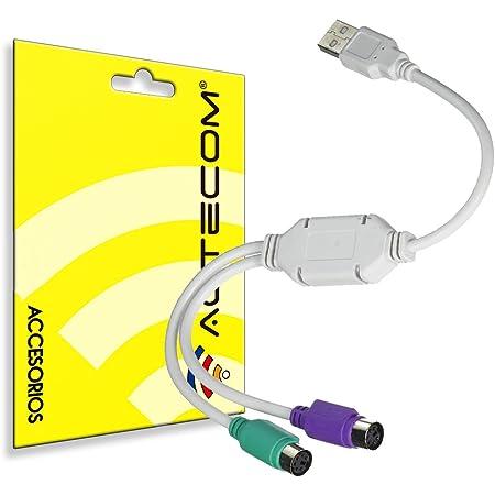 actecom® Cable Adaptador USB CONVERSOR A Doble PS2 Teclado Raton PC Ordenador