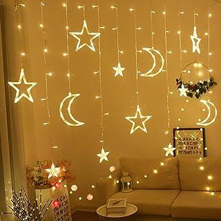 OUYAWEI Moon Star Lamp LED Lamp String Ins Christmas Lights Decoration Holiday Lights Curtain Lamp Wedding Neon Lantern 3....