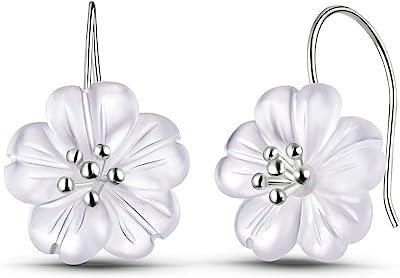 Springlight S925 Orecchini pendenti in argento sterling Fiore nella pioggia Orecchini pendenti in cristallo per donne e ragazze, gioielli unici fatti a mano.