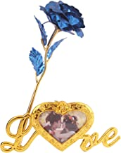 MSA JEWELS 24K Gold Plated Rose with Love Stand & Blue Velvet Box for Valentine, Birthday & Decor Gift (30X10X8 cm) (Blue)