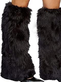 Womens Warm Leg Warmers Faux Fur Leg-Warmers Rave Fluffies Boot Cover Winter High Socks Santa Christmas Gift