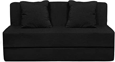 Aart Store High Density Foam Sofa Cums Bed Furniture 4x6 Feet with 2 Cushions – Perfect for Home/Office Décor (Black Color)