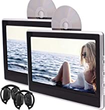 EINCAR Twin Portable DVD Players Backseat in Car Entertainment System for Car 11.6 Inch LED Dual 1366768 Screen Headrest Monitor,Support HDMI USB/SD AV FM IR with 2 PCS Headphones