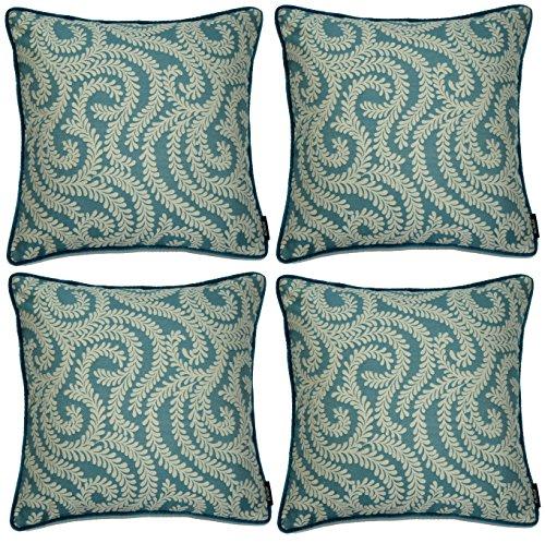 McAlister Textiles Lot de 4 housses de coussin en forme de petites feuilles, bleu sarcelle, vert, 43 cm, géométrique, vintage, décoratif, pour chambre à coucher, canapé, salon, tailles – 43 cm