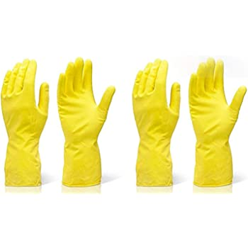 Fortane Reusable Rubber Cleaning Gloves Set | Hand Gloves for Washing, Cleaning Kitchen, Gardening Free Size, Pair of (2) (Color May Vary)