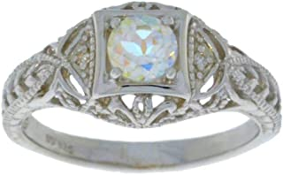 Natural Mercury Mist Mystic Topaz & Diamond Round Ring .925 Sterling Silver Rhodium Finish
