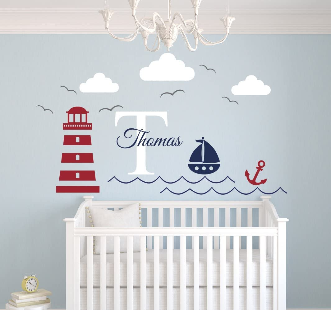 Nautical Nursery Wall Decals For Kids Nautical Name Decal Boat Wall Decal Nautical Nursery Decor Personalized Boy Name Wall Decal
