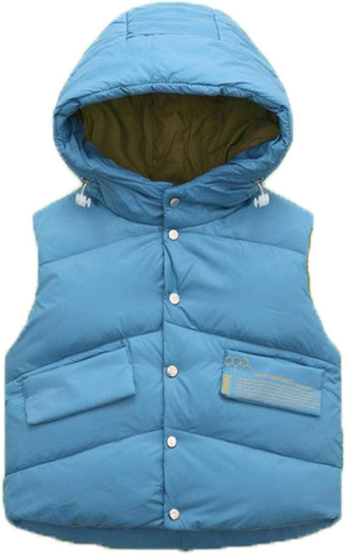 Children Down Vest Autumn Winter Kids Hooded Warm Outerwear Coat ,BLUE,100