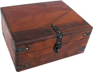Antique Style Wood Writing Travel Document Case Inkwell Storage Box