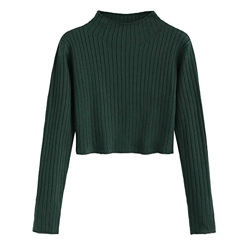 6106d57744db9d ZAFUL Women s Mock Neck Long Sleeve Ribbed Knit Pullover Crop Sweater