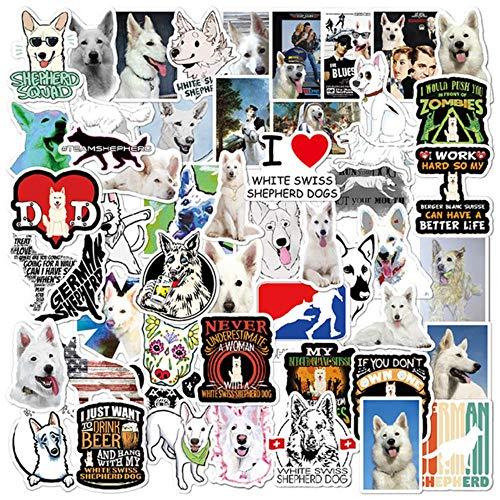 50PCS White Swiss Shepherd Dog Animales Pegatina PVC Skateboard Equipaje Motocicleta Guitarra Kid Boy Vsco Decal Graffiti Stickers F5,50pcs
