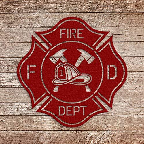 Cast Iron FIREMAN Plaque Firefighter Symbol Wall Decor Maltese Cross Rustic