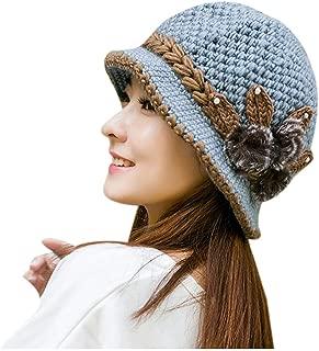 AIBEARTY Women Lady Vintage Warm Winter Cable Knit Beanie Hat Fur Flower Decorated Bucket Hat Snow Ski Cap