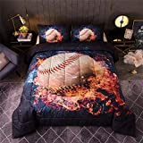 A Nice Night Baseball with Fire Comforter Set ,3D Sports Themed Microfiber Bedding Set,Gifts for Boys Girls Teens (Queen(88-by-88-inches))