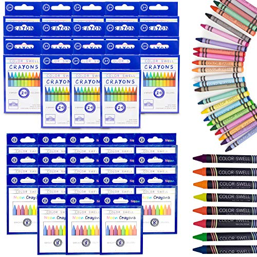 Color Swell Regular and Neon Crayon Bulk Packs - 18 Boxes of Fun Neon Crayons and 18 Boxes of Colorful Regular Crayons of Teacher Quality Durable Classroom Packs for Kids Students Party Favors