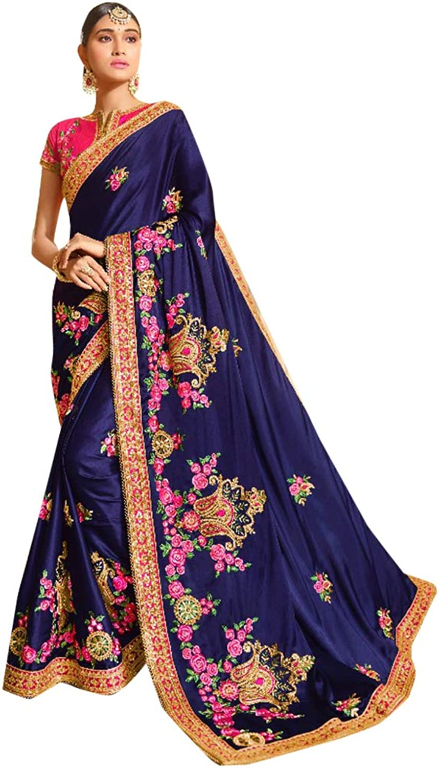 bluee Silk Party Wear Collection of Designer Saree with Stylish Heavy Border Contrast Blouse Sari Indian Ethnic Women 754